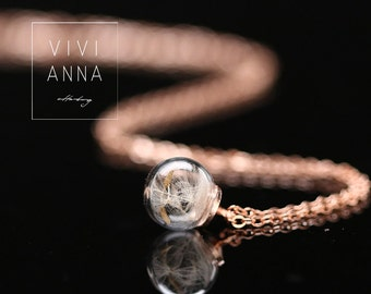 Mini Rosé Gold necklace with dandelion K314