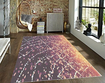 Sunset Rain Decorative Area Rug, Magenta Rug, Yellow Sparkly Floor Covering, Cob Web BedRoom Rug, Kitchen Decor Home Decor Accent Carpet