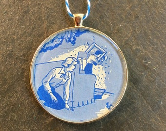 Nancy Drew  Christmas Ornament  50mm  Handcrafted for Holiday Gift  Girl Detective Tree Trimmer Style 2 Blue White Bakers Twine