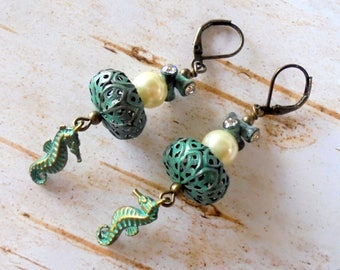 Turquoise Seahorse and Pearl Boho Earrings (3909)