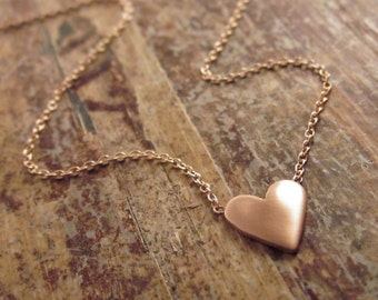 Rose Gold Heart Necklace 14K Gold Necklace Valentines Day Gift for Women Rose Gold Necklace Girlfriend Gifts Heart Necklaces Heart Jewelry