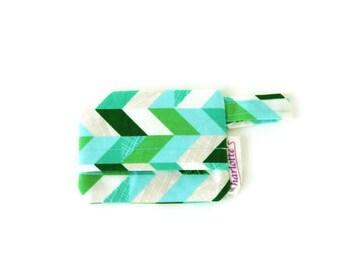 Green herringbone dog bag holder, green and blue poop bag holder, herringbone dog mess dispenser, waste bag holder, bag holder