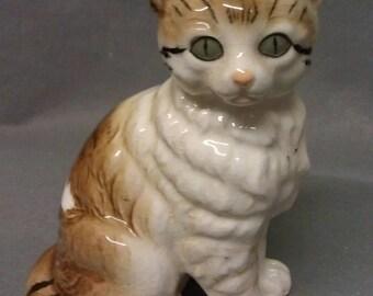 Vintage Beige and Brown Stripe with Marble Look Eyes Cat Figurine