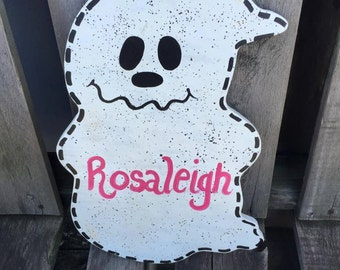 Ghost cutie Personalized Halloween / Fall  Holiday Wooden  Yard Art Decoration