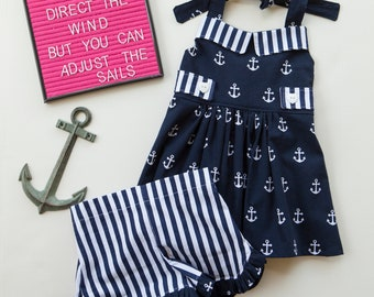 Nautical Outfit, Sailing Outfit, Tunic, Anchors, Toddler Outfit, Halter Top with Shorts, Little Girl Outfit, Baby Girl Outfit, Summer Outfit