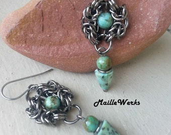 Aqua Turquoise Sesame Jasper Gemstone Black Gray Gunmetal Antiqued Chainmaille Earrings Romanov Byzantine Hanan Hall Jewelry Maillewerks