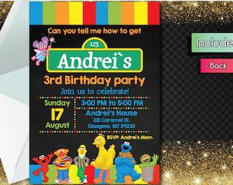 Editable PDF Sesame Street Birthday Invitation!! Downloadable Sesame Street Birthday Party Invitation!!