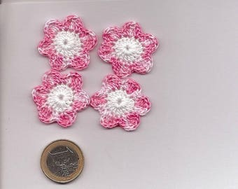 SET of 10 SCRAPBOOKING cotton pink and white CROCHET flowers