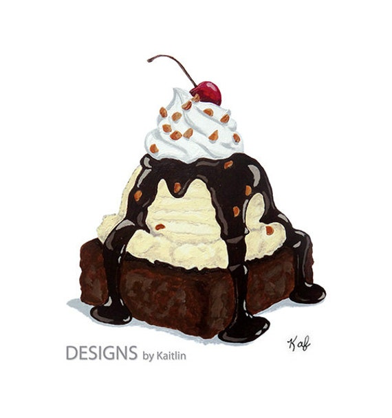 Brownie Ice Cream Sundae Dessert 5x7 Print From Acrylic
