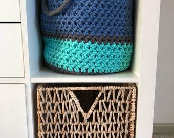 Crocheted handmade basket, organization basket, crochet basket, chunky yarn crochet