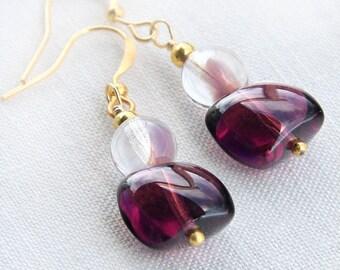 Statement Jewelry Purple Plum Glass Earrings Two Tone Burgundy Wine Earrings Girlfriend Gift for woman Purple Jewelry 925 Silver or Gold