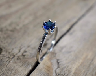 Blue Sapphire Claw Set Ring | Blue Sapphire Stone Ring with Six Prong Claw Setting | Sterling Silver | Dainty, Simple, Everyday Ring