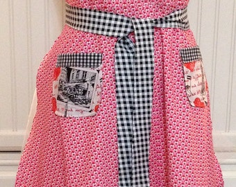 Womens full Apron,pink hearts, red hearts, black check, black gingham ruffle, Paris pockets, Paris cafe print, valentine hearts print
