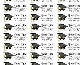 Diploma Address Labels-Diploma Return Address Labels-2017 Diploma Return Address Labels-Black and Gold Graduation Labels-Diploma Graduation