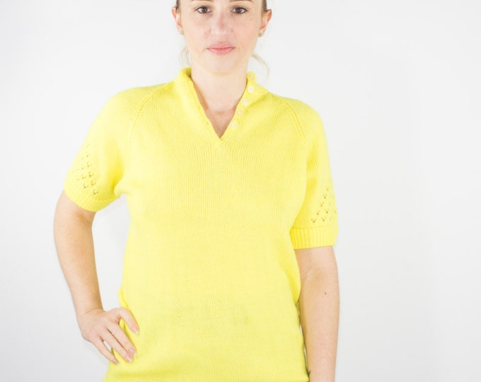 90s Vintage Cutout Sweater | Bright Yellow Short Sleeve Pullover | Size Small