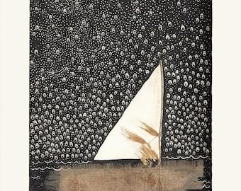 Nightwanderer Zeichnung, Collage, Geister, Segel Boot, Wohnkultur, Zeichnung, Kunstdruck, Kunst, Wandkunst, Fotografie, für zu Hause, Wand-Dekor, Collage