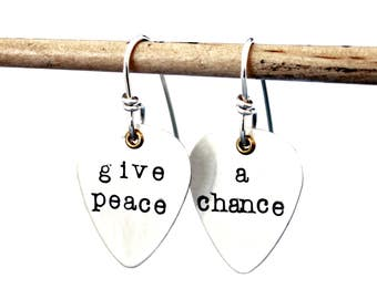 GIVE PEACE a CHANCE- Lyric Earrings - Guitar Pick Earrings - Beatles - Song Lyric Art - Guitar Pick  Free Shipping - Lyric Jewelry