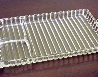 Jewelry Holder, Glass Dresser Tray, Vintage Tray, Retro Lunch Plate, Mod Striped Tray, Punch Cup Plate, Pressed Glass Serving Tray