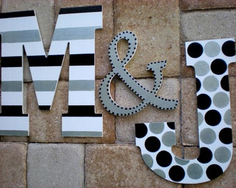 Large Wall Initials - 13.5 Inch - Painted Initials - Set of 3 - Family Wall Decor