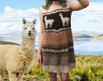 100% Alpaca Wool Striped Tassel Unique Dress.