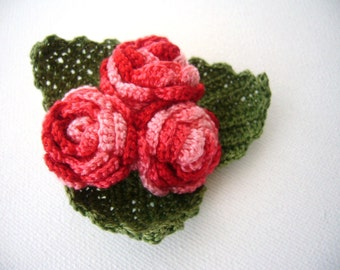 Crochet Brooch - Crochet Roses - Cotton Corsage Brooch - Red Roses- Mother's Day Gift - Handmade