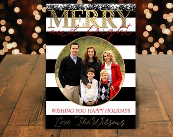 Family Photo Christmas Card, Christmas Family Card, Christmas Photo Card, Holiday Card, Xmas Card, Merry and Bright Card