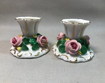 German Dresden Porcelain Floral Candlestick Holder
