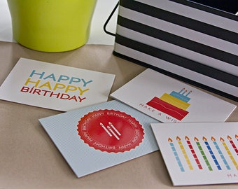 Birthday Card Pack (4 Blank Cards)