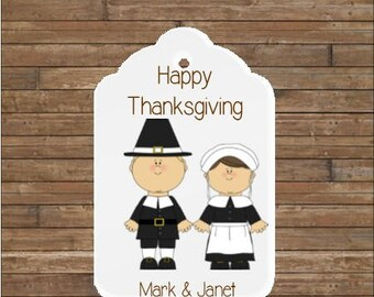 Personalized Thanksgiving Tags - Happy Thanksgiving Tags - Pilgrim Couple