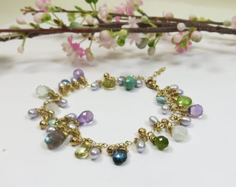 Gemstone Bracelet, Wirewrapped 14kt Goldfill Bracelet w Pearls, Delicate Turquoise Peridot Moonstone Topaz Amethyst Laboradite Bracelet