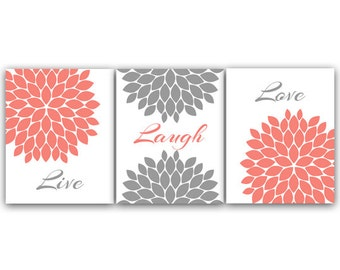 Home Decor CANVAS Wall Art, Live Laugh Love, Coral Wall Art, Flower Burst Bathroom Wall Decor, Coral and Grey Bedroom Wall Art - HOME62