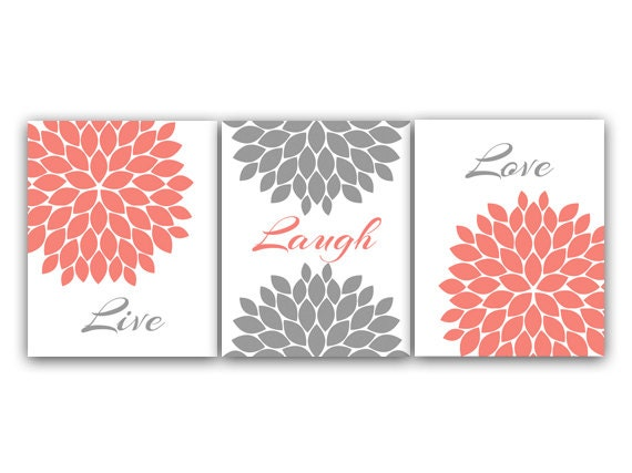 lovely coral colored bathroom | Home Decor CANVAS Wall Art Live Laugh Love Coral Wall Art