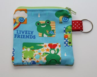 Kawaii Blue Frogs Coin Purse (Green Zipper)