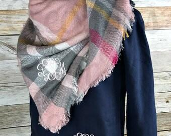 Monogram Blanket Scarf, Blanket Scarf, Plaid Blanket Scarf, Plaid Scarf, Tartan Scarf, Monogram Scarf, Personalized Blanket Scarf, Tartan