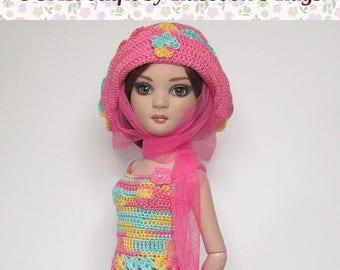 """OOAK Ellowyne Wilde set """"CAMDEN LOCK"""" crochet outfit. For Ellowyne Wilde & friends.  Dress, Hat, and floaty scarf."""