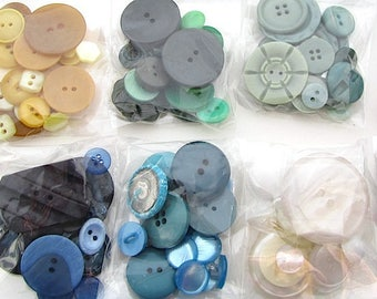 Bag of Vintage Buttons, Single Colour Button Assortment, Knitwear, Crafting, Mixed Media, Jewellery Making