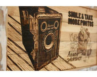Wood Wall Art with Reclaimed Wood Pyrography Wood Burned Antique Ansco Shur Shot Camera Wall Art