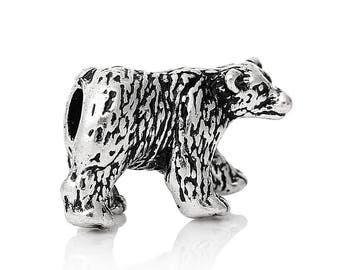 Bear beads big hole, antique silver metal