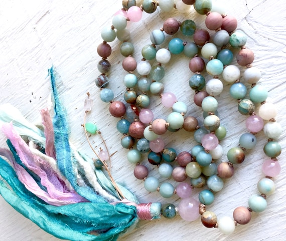 108 Rose Quartz Mala Beads - Aquamarine Prayer Beads - Ammonite & African Opal Mala Necklace - Silk Sari Tassel - Throat Chakra Mala