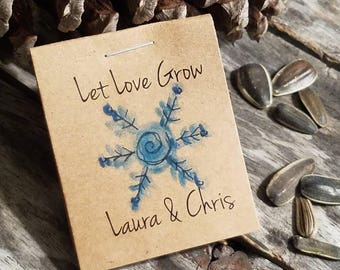 Personalized MINI Flower Seeds Snowflake Winter Wonderland Christmas Snow Flakes Bridal Shower Favors Wedding  Favors Flower Seed Packets