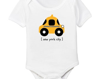 New York City NYC Checkered Taxi Cab Organic Baby Bodysuit