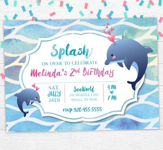 Dolphin birthday invite dolphin birthday invitation dolphin filmwisefo
