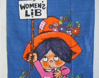 Linen Tea Towel Chris Bash Novelty Women's Lib Collectible New with foil labels 1970's vintage