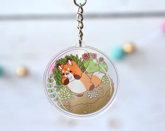 Kawaii Fox Nugget Terrarium Acrylic Charm Keychain