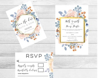 Botanical Wedding Invitation suite-wedding Invitation-botanical wedding-wedding Invitation-invitation set-greenery wedding-botanical-wedding