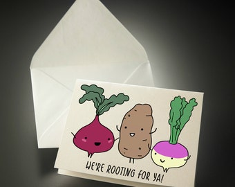 5 x 7 Printable rooting for you good luck card from us best wishes card card get well card for coworker card food for ya INSTANT DOWNLOAD