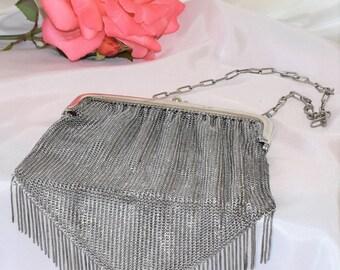 Antique German silver chainmail evening handbag