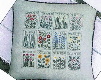 A Year of Flowers by The Drawn Thread Counted Cross Stitch Pattern/Chart