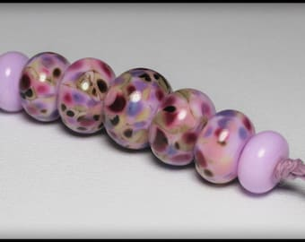 Lampwork Beads, Handmade Beads, Glass Beads, Beads, Bead Set, Jewelry Supplies, Orchid, Lavender, Purple, Pink, Sage Green, Rondelle, Frit