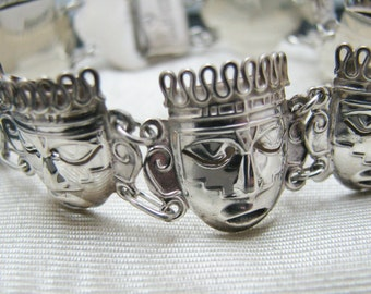 c055 Charming Sterling Silver Linked Mask Bracelet from Mexico